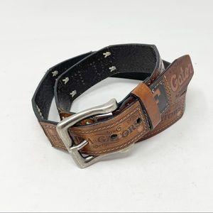 FOSSIL Women's FLORIDA GATORS Patchwork Tooled Leather Belt U Of FLORIDA